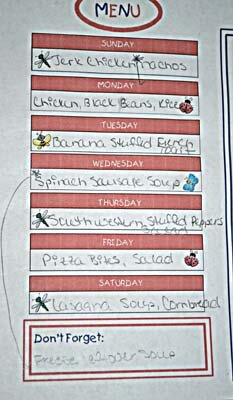 Weekly Menu Chart